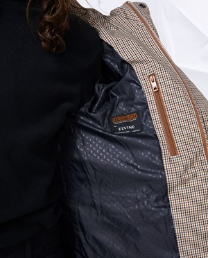 Elvine Bror check Puffer jacket Men Brown Check